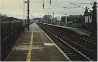 Looking south at Lockerbie station, far north end of station. The line to Dumfries and Lochmaben formerly branched off the right here.<br><br>[Ewan Crawford&nbsp;//]
