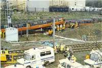 Bellgrove crash between two class 303 trains on the single track of the former City of Glasgow Union Railway by Bellgrove Junction.<br><br>[Ewan Crawford&nbsp;//]