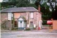 View looking north at Bearsden station building before conversion to a Beefeater restaurant.<br><br>[Ewan Crawford&nbsp;//]