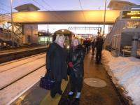 Platform scene at Bathgate on 12 December 2010 with Karen Whitefield MSP and Mary Mulligan MSP awaiting departure of the first train.<br><br>[First ScotRail&nbsp;12/12/2010]