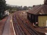 Looking north at Pitlochry station showing the former goods shed.<br><br>[Ewan Crawford&nbsp;//]