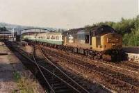 Looking north at Dingwall station, class 37 hauled passenger train heading south.<br><br>[Ewan Crawford&nbsp;//]