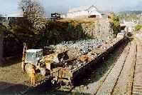 Class 37 hauled ballast train being loaded at Kyle of Lochalsh. View looks north.<br><br>[Ewan Crawford&nbsp;//]