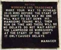 Notice at Polmaise Colliery.<br><br>[Ewan Crawford&nbsp;//]
