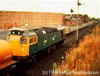Class 27 hauling a freight train west through the former Cambus station.<br><br>[Jeffray Wotherspoon&nbsp;//]