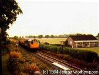 Class 27 hauling a freight train west to the former Cambus station.<br><br>[Jeffray Wotherspoon&nbsp;//]