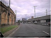 Looking at the site of the former approach lines to Yorkhill Quay, now the Clydeside Expressway. View looks east.<br><br>[Ewan Crawford&nbsp;//]