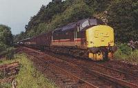 Class 37 hauled sleeper entering Arrochar and Tarbet station from the south.<br><br>[Ewan Crawford&nbsp;//]