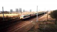 Class 90 on test run at what was to become Shieldmuir station.<br><br>[Ewan Crawford&nbsp;//]