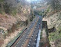 Looking south east over the former Craiglockhart station in 2002.<br><br>[John Furnevel&nbsp;23/02/2002]