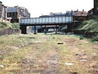 The approach to Princes Street station and Lothian Road goods yard in 1970 with Grove Street road bridge in the foreground. The route to Princes Street station was to the left, while the slightly higher level route to the right served the original Lothian Road station, later the goods depot.<br><br>[John Furnevel&nbsp;26/05/1970]