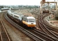 A southbound HST passing a busy Portobello Freightliner terminal in 1978.<br><br>[John Furnevel&nbsp;26/10/1978]