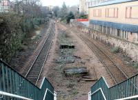Looking west from the main entrance to the former Newington station on the Edinburgh <I>sub</I> in February 2002. Concrete steps lead down to the site of the island platform.<br><br>[John Furnevel&nbsp;24/02/2002]