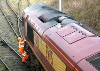 Pilot boarding a loaded coal train at the entrance to Cockenzie PS sidings in April 2002 <br><br>[John Furnevel&nbsp;12/04/2002]