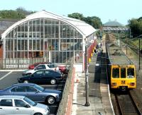A Tyne & Wear Metro train for St James arrives at Monkseaton station in July 2004.<br><br>[John Furnevel&nbsp;10/07/2004]