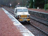 First Engineering Ro/Rail Land Rover passing through Spean Bridge Station.<br><br>[John Gray&nbsp;//]