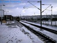 Looking east at Airdrie. Terminal platform and siding to right and out of sight through platform to left.<br><br>[Garth Ponsonby&nbsp;//]
