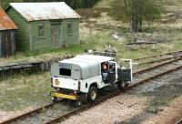 First Engineering road/rail vehicle alongside Rannoch station in May 2003.<br><br>[John Furnevel&nbsp;/05/2003]