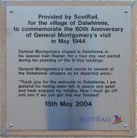 Plaque commemorating the visit of General Montgomery to Dalwhinnie in 1944.<br><br>[John Gray&nbsp;27/09/2004]