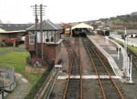 View over a quiet Bo'ness station from the footbridge in January 2005.<br><br>[John Furnevel&nbsp;12/01/2005]