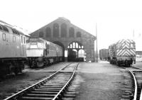 A grey day on Ayr shed. View north on 19 June 1970, with the main Ayr - Glasgow line off to the left. The shed yard is dominated by class 27 and 08 locomotives, with 5374 nearest the camera.<br><br>[John Furnevel&nbsp;19/06/1970]