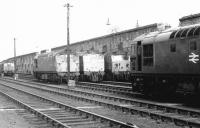 The diesel locomotive stabling point alongside the west wall at Perth station in 1970.<br><br>[John Furnevel&nbsp;25/05/1970]