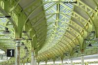 Detail of the glazed canopy roof over platforms 1 and 2. The canopy over platforms 3 and 4 can be seen to the right. View looks north.<br><br>[Ewan Crawford&nbsp;4/6/2004]