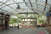The circulating area as viewed from the curved walkway to the pier. Platforms 1 and 2 are to the right beyond the circulating area and the disused platforms 3 and 4 are to the right. Variations of this view are very popular for postcards of this station.<br><br>[Ewan Crawford&nbsp;4/6/2004]