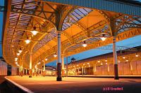 Canopies covering platforms 3 and 4 as seen from the trackbed, now in use as a carpark. Platforms 1 and 2, still in use, are seen to the right.<br><br>[Ewan Crawford&nbsp;4/6/2004]