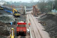 Chatelherault station at Ferniegair under construction. View looks north.<br><br>[Ewan Crawford&nbsp;20/03/2005]