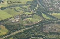 Aerial view of Ferniegair, Haughhead Junction, Ross Junction and Ross Yard. View looks west. The new works for the new Larkhall Branch can be seen.<br><br>[Ewan Crawford&nbsp;1/7/2004]