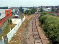 Looking north from Hereford Barton. The line ran straight ahead to Shrewsbury. The line to the right runs to the present Hereford station.<br><br>[Ewan Crawford&nbsp;06/07/2006]