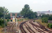 Looking north at Hereford Yard Junction. The line to the left runs to Hereford Barton (ahead) and Barrs Court Sidings (behind camera).<br><br>[Ewan Crawford&nbsp;06/07/2006]