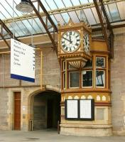 The feeling of 'times past' that seems to radiate from various corners of Perth station.... such as the magnificent old clock outside the former signal box midway along platform 5, seen here in 2006.<br><br>[John Furnevel&nbsp;15/07/2006]