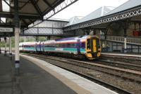 Train for Dundee about to leave platform 2 at Perth in 2006.<br><br>[John Furnevel&nbsp;15/06/2006]