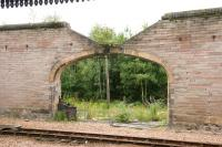 Hole in the wall, Perth 2006, showing the abandoned and overgrown former locomotive stabling area beyond the west wall of Perth station. [See image 1569] <br><br>[John Furnevel&nbsp;15/07/2006]
