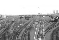 View south over the Northwest section of Millerhill yard in September 1971. The main lines are over on the left and Monktonhall Colliery stands in the right background beyond the down departure sidings. [See image 33633]<br><br>[John Furnevel&nbsp;11/09/1971]