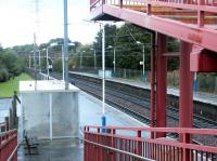 View east over platform 2 from the footbridge at Curriehill in October 2002. [Ref query 3801]<br><br>[John Furnevel&nbsp;27/10/2002]