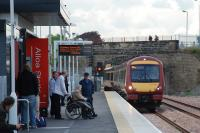 A train from Glasgow via Stirling arrives at Alloa station on 19 May 2008, the first day of public service on the recently reopened line.<br><br>[Ewan Crawford&nbsp;19/05/2008]