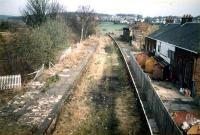 Kilmacolm looking to Princes Pier. A terminus from the 60s the platform to the right was latterly served by a single track until 1983.<br><br>[Ewan Crawford&nbsp;//1987]
