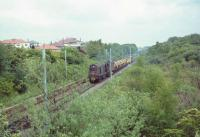 An EE Type 1 approaches the bridge under the East Kilbride line near Williamwood with a weedkiller train on 30 May 1965 with spraying in progress.<br><br>[John Robin&nbsp;30/05/1965]