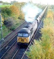 Transrail liveried 56072 leaves Millerhill yard northbound with coal empties in September 1995.<br><br>[John Furnevel&nbsp;10/09/1995]