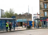 Entrance to Partick station from the bus interchange during extensive refurbishment work in August 2006.  <br><br>[John Furnevel&nbsp;27/08/2006]