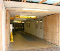 Temporary entrance and ticket hall at Partick station during work being carried out in August 2006.<br><br>[John Furnevel&nbsp;27/08/2006]