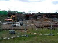 From the site of the old junction looking west at Alloa (Old). Big drain pipes are going in. Further west the road at Alloa West was closed - perhaps the new LC going in?<br><br>[Ewan Crawford&nbsp;13/08/2006]