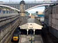Unusual view of a 125, Waverley's suburban platforms and the North Bridge.<br><br>[Ewan Crawford&nbsp;12/08/2006]