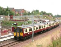 A Larkhall - Dalmuir train pulls away from Merryton in August 2006.<br><br>[John Furnevel&nbsp;18/08/2006]