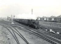 V1 2-6-2T 67622 passing Clydebank Dock Junction with and up Helensburgh Express on Saturday 3rd May 1958.<br><br>[G H Robin collection by courtesy of the Mitchell Library, Glasgow&nbsp;03/05/1958]
