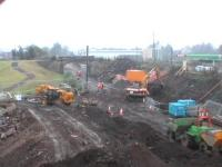 August 2006, work continue to open the S-A-K line.<BR/>First heavy rain for weeks. This is the site of the old Alloa East Junction. the new Alloa station will be beyond the bridge.<br><br>[Brian Forbes&nbsp;25/08/2006]
