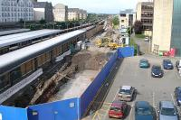Work underway on the new Haymarket bay platform 0. View west over the car park from Haymarket station building on 1 July 2006.<br><br>[Charles Barclay&nbsp;01/07/2006]